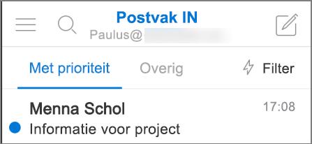 Een afbeelding van hoe Outlook eruitziet op een iPhone.
