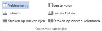 Schermafbeelding van de groep Opties voor tabelstijlen op het tabblad Hulpmiddelen voor tabellen - Ontwerpen, waarbij de optie Veldnamenrij is geselecteerd.