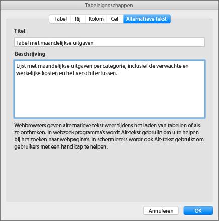 Schermafbeelding van het tabblad Alternatieve tekst van het dialoogvenster Tabeleigenschappen met een beschrijving van de geselecteerde tabel