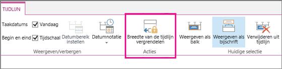 Optie voor taak tijdlijn vergrendelen breedte op het tabblad tijdlijn