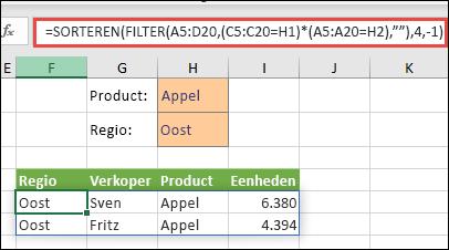 FILTER gebruiken met de functie SORTEREN om alle waarden in het matrixbereik (A5:D20) te retourneren die zowel Apples zijn en zich bevinden in de oostelijke regio.