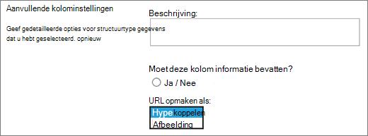 Opties voor afbeelding/Hyperlink-kolom