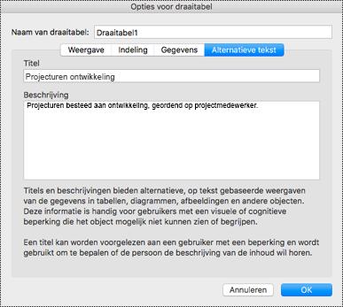 Dialoogvenster alternatieve tekst voor een Excel-draaitabel.