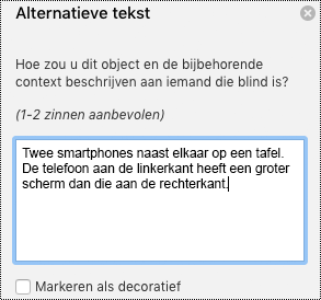 Deelvenster alternatieve tekst in Excel voor Mac