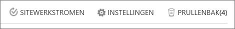 Weergave van de knop Prullenbak in Site-inhoud.