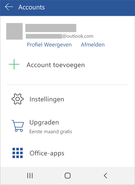 Toont de optie Afmelden in Office op een Android-apparaat
