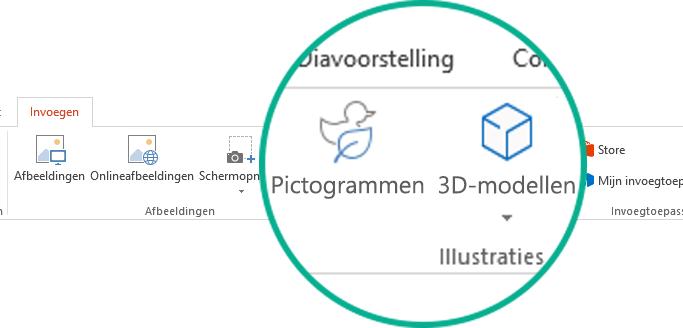 De knoppen voor pictogrammen en 3D-modellen op het tabblad Invoegen op het werkbalklint in Office 365