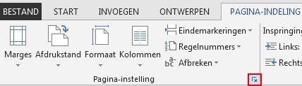 Op het tabblad PAGINA-INDELING opent het pictogram Pagina-instelling-pictogram in de rechterbenedenhoek het venster Pagina-instelling.