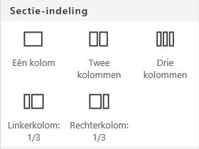 Schermafbeelding van het menu Sectie-indeling in SharePoint.