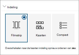 Instellingen van sites webonderdelen indeling