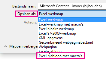 Kies een Excel-sjabloon met macro's