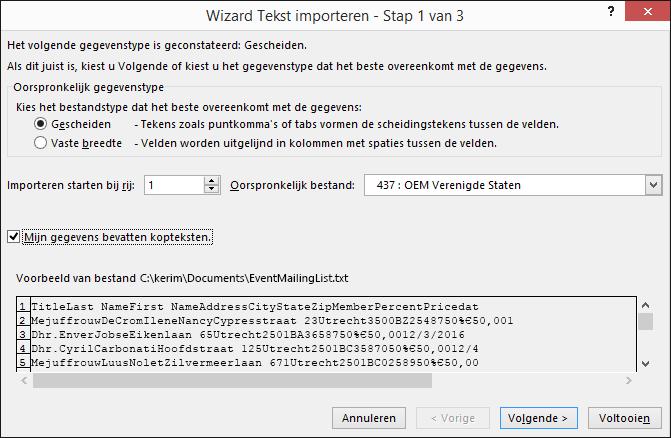Excel - Externe gegevens uit tekst ophalen, wizard Tekst importeren, stap 1 van 3
