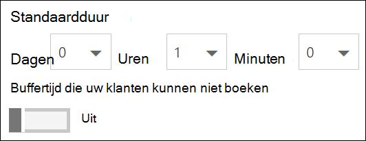 Schermafbeelding: Stel de standaardduur van de service