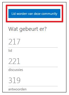 Schermafbeelding van knop met tekst 'Lid worden van deze community'.