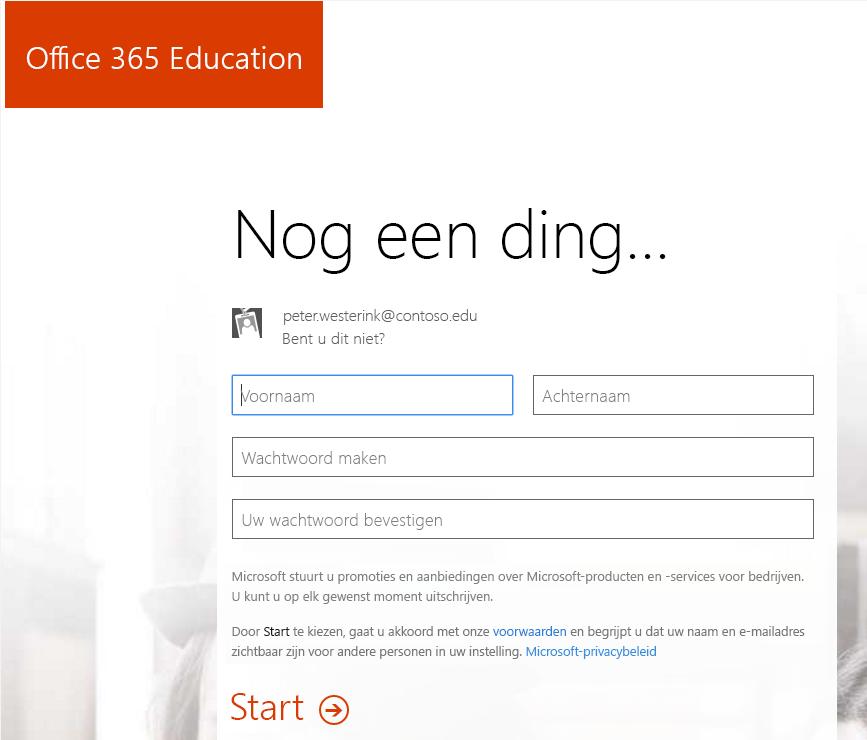 Schermafbeelding van de pagina Wachtwoord maken voor de aanmelding voor Office 365.