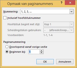 De opties in het dialoogvenster Opmaak van paginanummer worden weergegeven