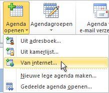 Agenda openen met de opdracht Internet op het lint