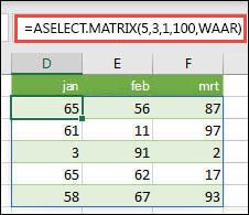 De functie RANDARRAY met argumenten voor minimum, maximum en gehele getallen