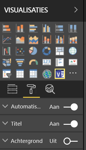 Deelvenster visualisaties in Power BI