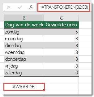 #WAARDE-fout in TRANSPONEREN