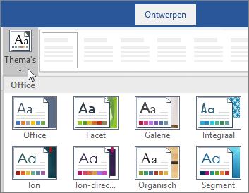 Opties voor het thema's in het Word-lint