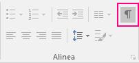 Het pictogram Weergeven/Verbergen is gemarkeerd op het tabblad Start.