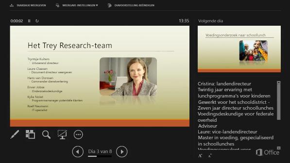 Weergave voor presentator in PowerPoint 2016 met een cirkel rond de sprekersnotities
