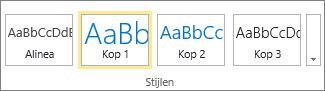 Schermafbeelding toont de groep Stijlen op het lint van SharePoint Online waarin de stijl Kop1 is geselecteerd.