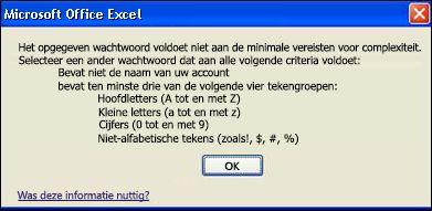 Foutbericht wanneer te weinig tekens zijn gebruikt voor het wachtwoord