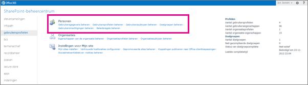 Een schermafbeelding van het SharePoint Online Beheercentrum waarop de pagina Gebruikersprofielen is geselecteerd.