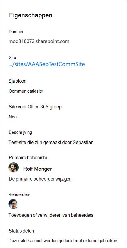 Eigenschappen van de site in het detailvenster