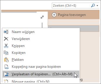 Schermafbeelding van het verplaatsen of kopiëren van een pagina in OneNote 2016.