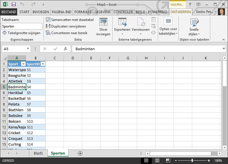 Een tabel een naam geven in Excel