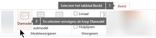 Gebruik het tabblad Beeld in Powerpoint om te schakelen naar de weergave Diamodel