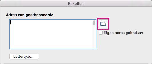Klik op het pictogram Adres invoegen om een adres te selecteren in de lijst met contactpersonen.