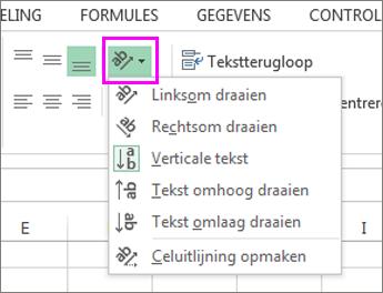 De opties voor afdrukstand lettertype op het tabblad Start