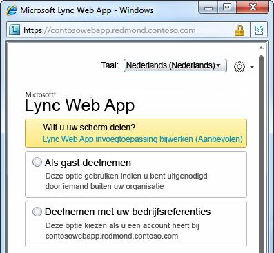 Opties voor deelname aan een onlinevergadering met Lync Web App