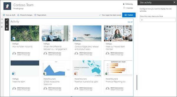 Het webonderdeel activiteit op een voorbeeld van een moderne team site in SharePoint Online