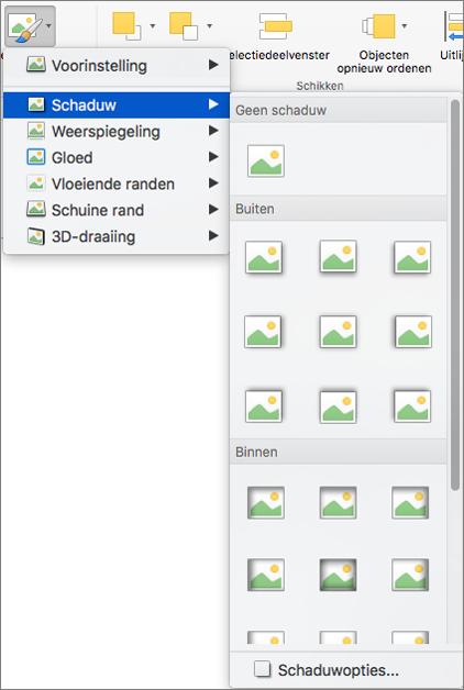 Opties voor schaduw in het menu Afbeeldingseffecten
