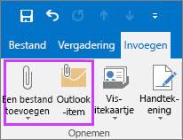 In het tabblad Bestand op Bestand toevoegen of E-mailitem klikken