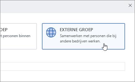 Een schermafbeelding van het scherm Groep maken in Yammer met Externe groep geselecteerd.