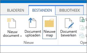 Het tabblad bestanden op het lint met de knop Nieuwe map is gemarkeerd