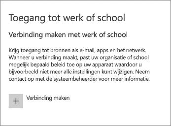Kies Verbinden onder Toegang tot werk of school