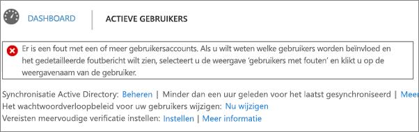 Melding van een fout met de adreslijstsynchronisatie boven aan de pagina Actieve gebruikers