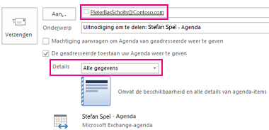 Uitnodiging om e-mail in postvak delen extern te delen - Instellingen voor vak Aan en Details