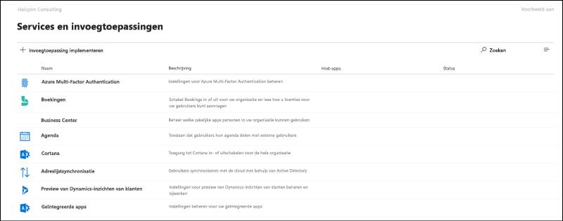 Scherm opname: de pagina instellingen en invoeg toepassingen in de preview-versie van het micro soft 365-beheer centrum.
