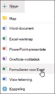 Optie Formulier invoegen voor Excel in Excel Online