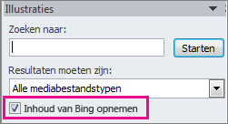 Het selectievakje Inhoud van Bing opnemen