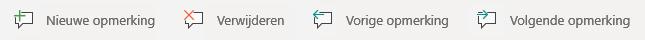 De knop opmerkingen in Windows Mobile: nieuwe opmerking maken, huidige opmerking verwijderen, naar de vorige opmerking gaan en naar volgende opmerking gaan