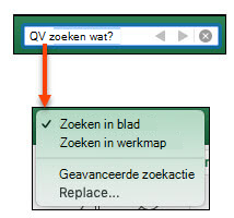 Wanneer de zoekbalk is geactiveerd, klikt u op het vergrootglas om het dialoogvenster Meer zoekopties te activeren